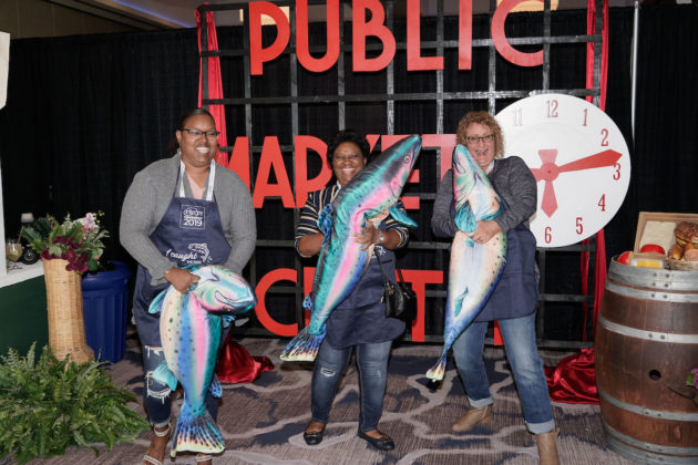 """During the welcome reception, attendees participated in a Pacific Northwest-themed """"Fish Toss."""""""