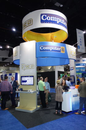 National Community Pharmacists Association 2019 Conference and Trade Show Exhibits The Transaction Data Systems exhibit with the Rx30 and Computer-Rx pharmacy systems.