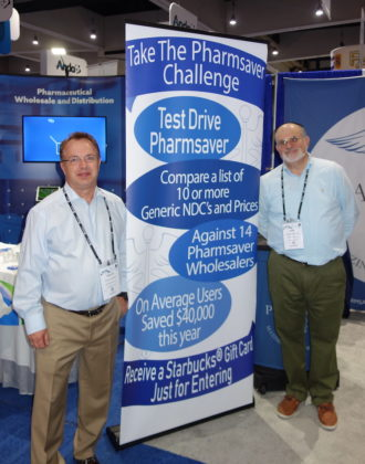 National Community Pharmacists Association 2019 Conference and Trade Show Exhibits Pharmsaver's Phillip Idziak, left, and Mike Sosnowik.