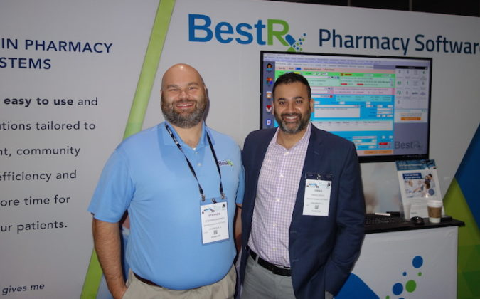 National Community Pharmacists Association 2019 Conference and Trade Show Exhibits BestRx Pharmacy Software's Stephen Barnes, left, and Vikas Desai.