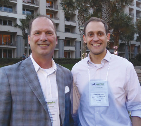 Representing OmniSYS were Dean Braun, SVP, business development and marketing, left, and David Pope, chief innovation officer.