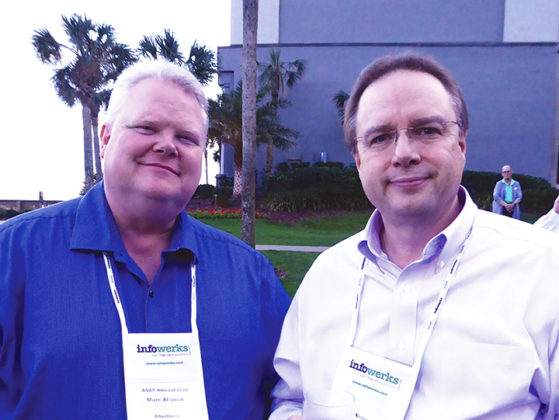 Marc Allgood, left, director of pharmacy systems and process redesign, Albertson's, with Ben Bluml, R.Ph., senior VP for research and innovation, American Pharmacists Association Foundation. Ben spoke on Project IMPACT: Immunizations — New Innovations in Population Health.