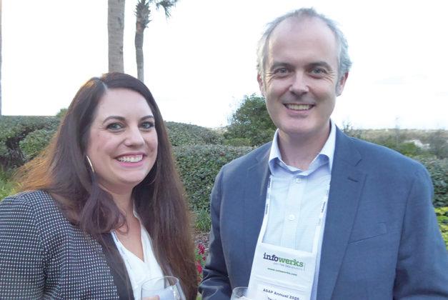 Sondra Heffernan, VP, sales, InfoWerks, with Paul Carrig, VP, development at PioneerRx, at the president's reception.