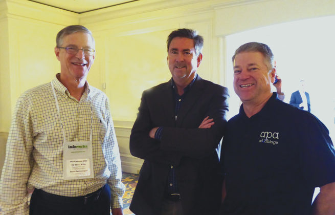 From left, Ed Vess, director, pharmacy professional affairs at QS/1, and Karl Steele, president, and John Hobson, VP, American Pharmacy Alliance.